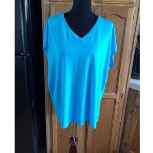 Lane Bryant Turquoise Pleat Back Top Size 18/20